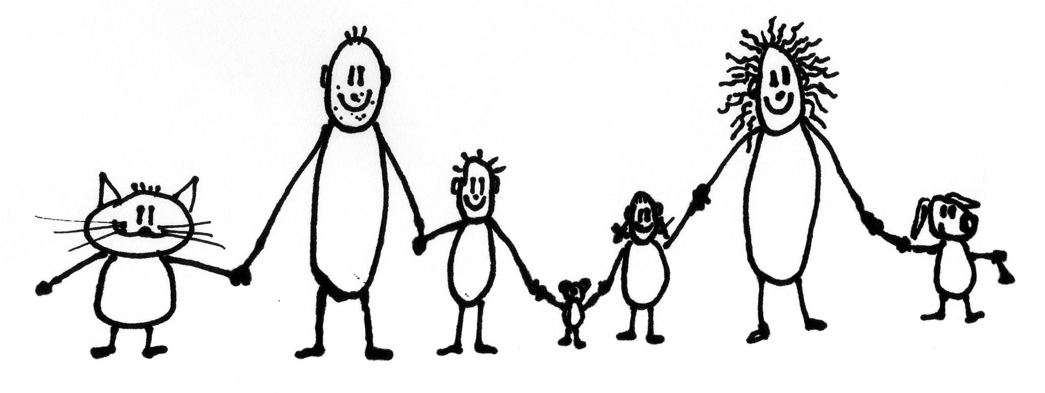 Zeichnung Aufstellung Familie Tiere